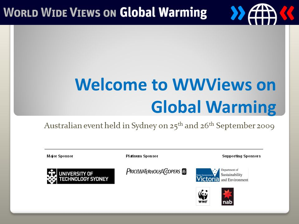 Welcome to WWViews on Global Warming Australian event held in Sydney on 25 th and 26 th September 2009