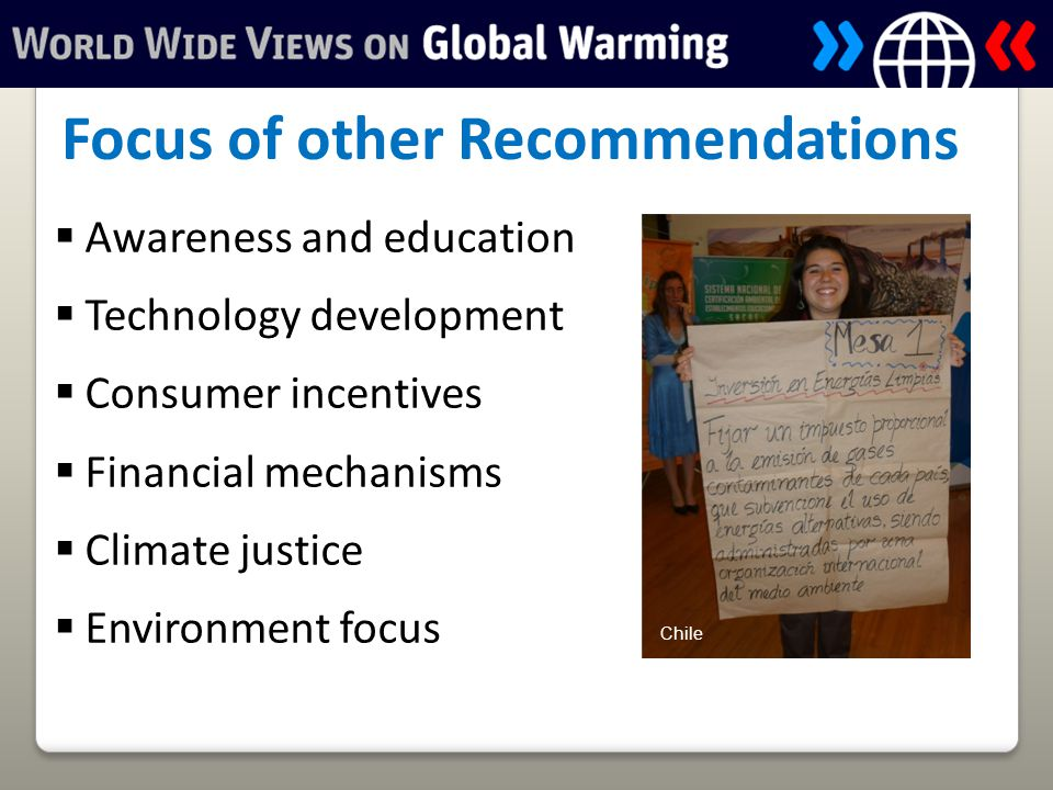  Awareness and education  Technology development  Consumer incentives  Financial mechanisms  Climate justice  Environment focus Focus of other Recommendations Chile
