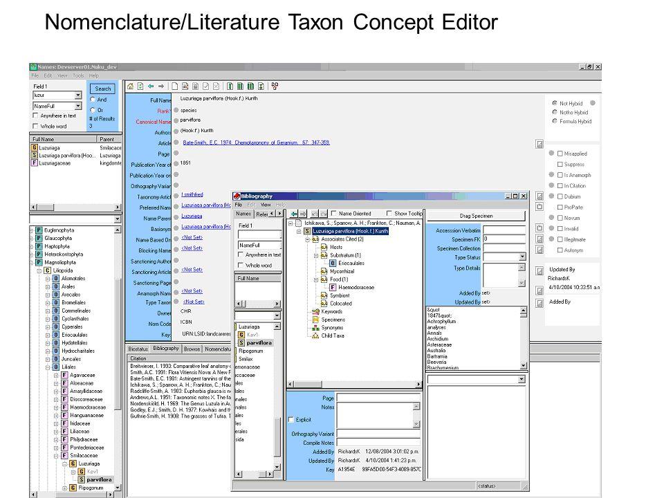 Nomenclature/Literature Taxon Concept Editor
