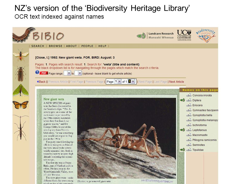 NZ's version of the 'Biodiversity Heritage Library' OCR text indexed against names