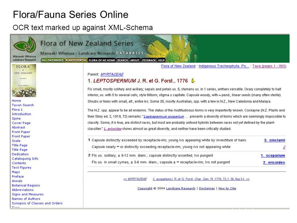 Flora/Fauna Series Online OCR text marked up against XML-Schema