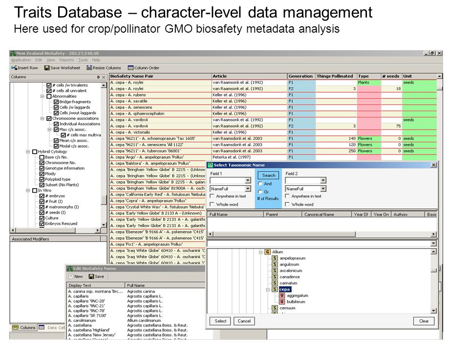 Traits Database – character-level data management Here used for crop/pollinator GMO biosafety metadata analysis