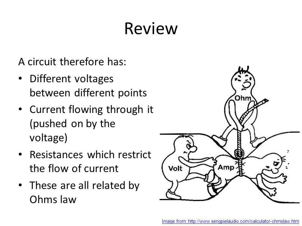 Review A circuit therefore has: Different voltages between different points Current flowing through it (pushed on by the voltage) Resistances which restrict the flow of current These are all related by Ohms law Image from: http://www.sengpielaudio.com/calculator-ohmslaw.htm