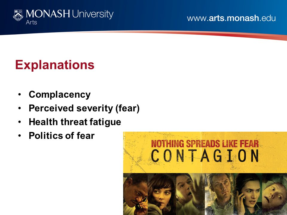 Explanations Complacency Perceived severity (fear) Health threat fatigue Politics of fear