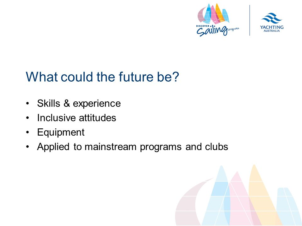 Skills & experience Inclusive attitudes Equipment Applied to mainstream programs and clubs