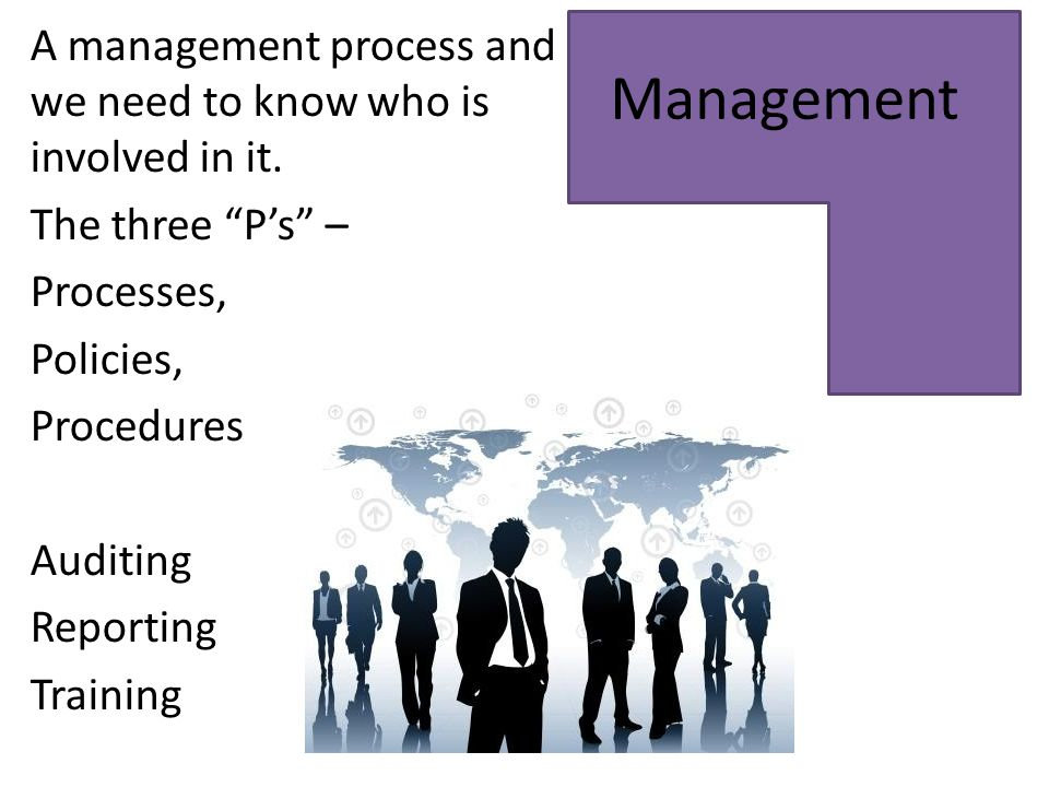 "Management A management process and we need to know who is involved in it. The three ""P's"" – Processes, Policies, Procedures Auditing Reporting Traini"