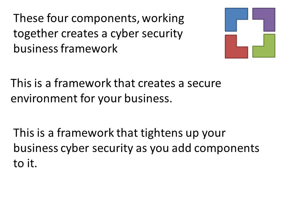 This is a framework that creates a secure environment for your business. These four components, working together creates a cyber security business fra