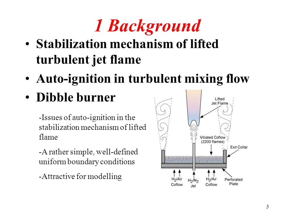 3 1 Background Stabilization mechanism of lifted turbulent jet flame Auto-ignition in turbulent mixing flow Dibble burner -Issues of auto-ignition in the stabilization mechanism of lifted flame -A rather simple, well-defined uniform boundary conditions -Attractive for modelling