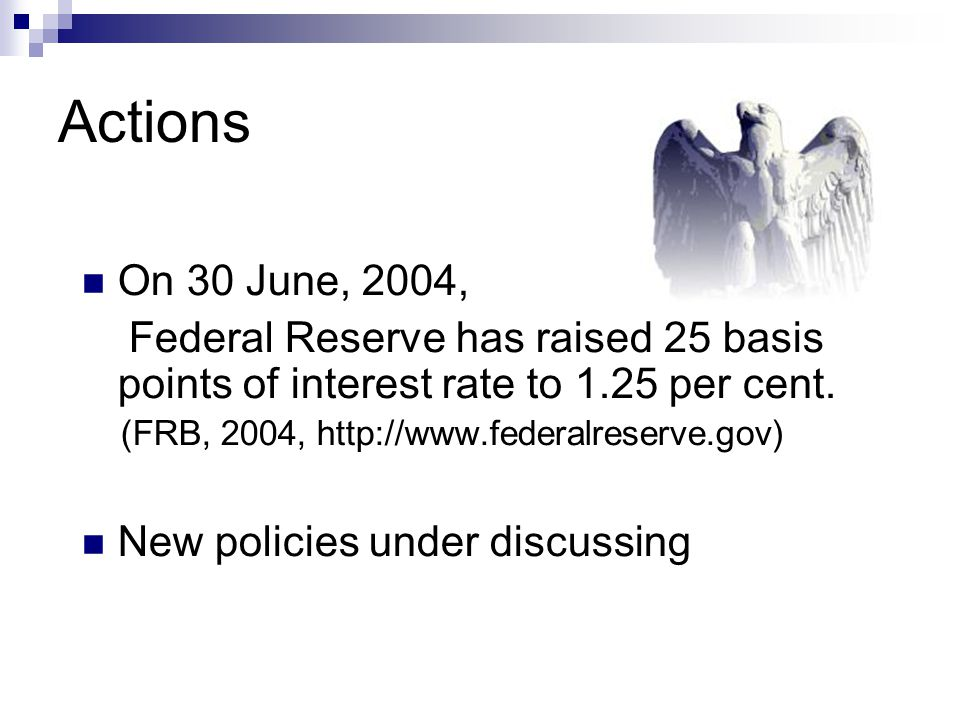 Actions On 30 June, 2004, Federal Reserve has raised 25 basis points of interest rate to 1.25 per cent. (FRB, 2004, http://www.federalreserve.gov) New