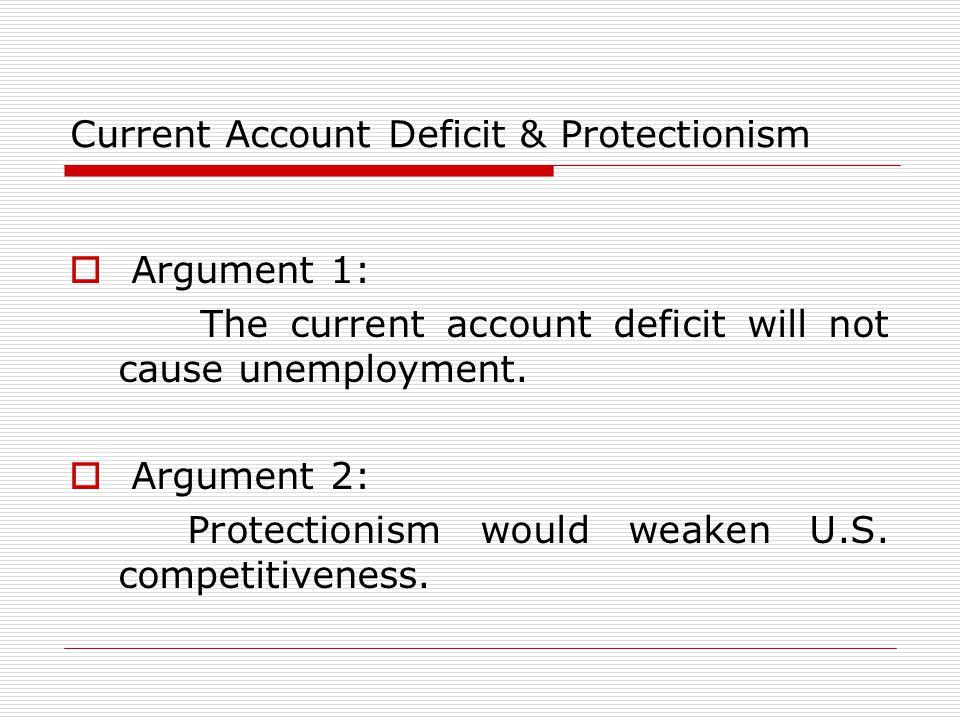 Current Account Deficit & Protectionism  Argument 1: The current account deficit will not cause unemployment.