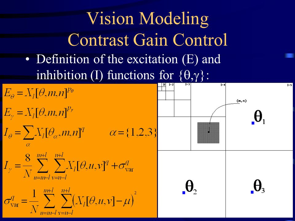 Vision Modeling Contrast Gain Control Definition of the excitation (E) and inhibition (I) functions for { ,  }: