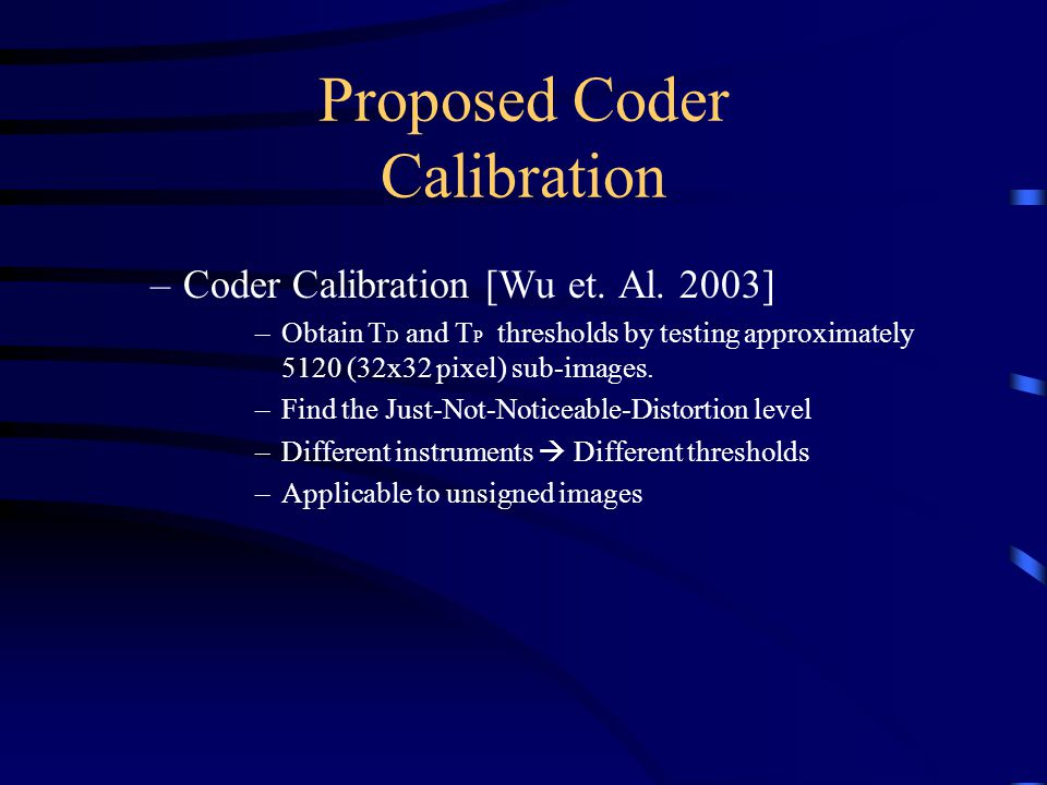 Proposed Coder Calibration –Coder Calibration [Wu et.