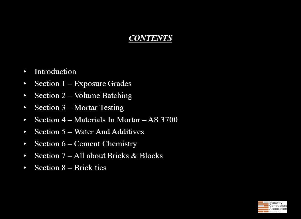 Mortar Exposure Grades