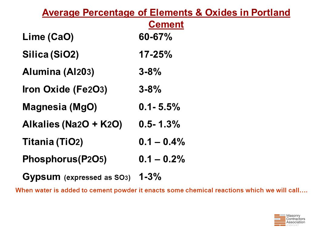 When water is added to cement powder it enacts some chemical reactions which we will call…. Average Percentage of Elements & Oxides in Portland Cement