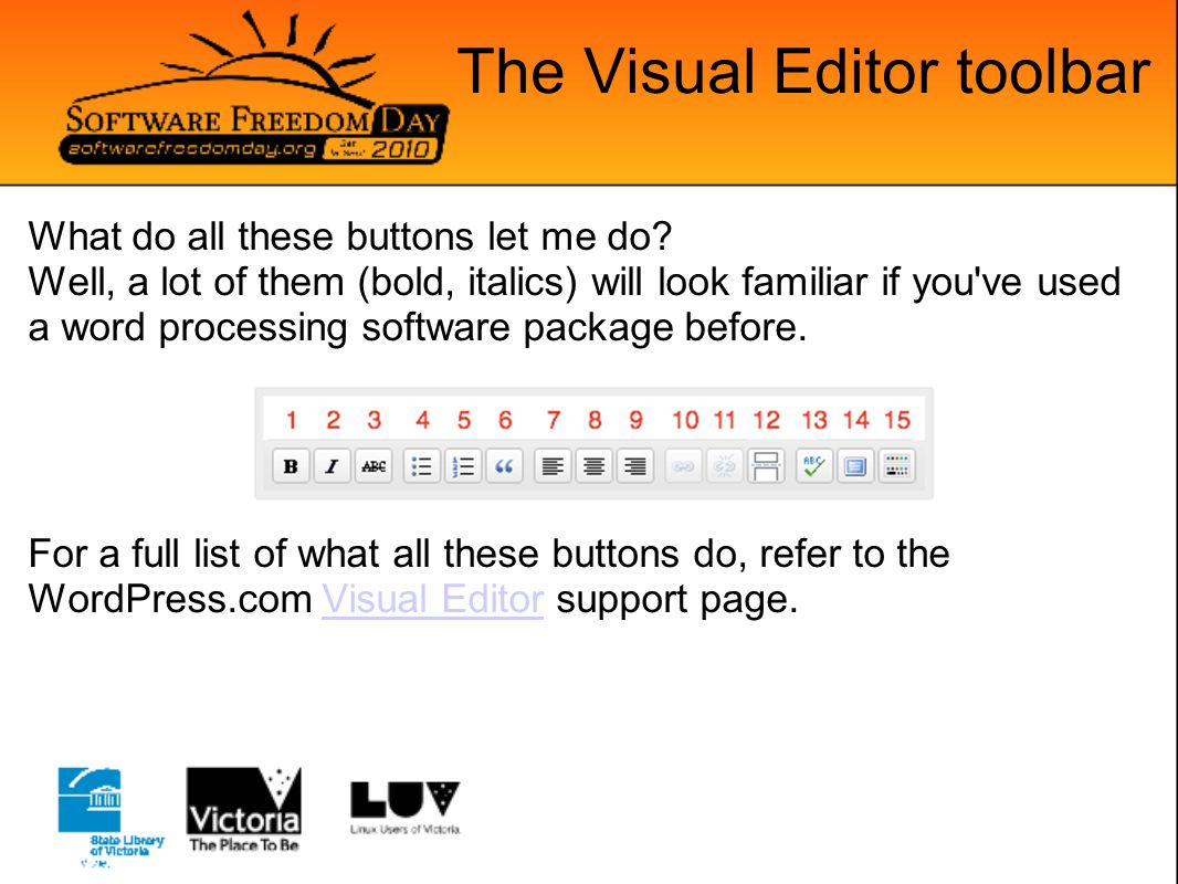 The Visual Editor toolbar But wait, there s more.A whole other row of buttons.