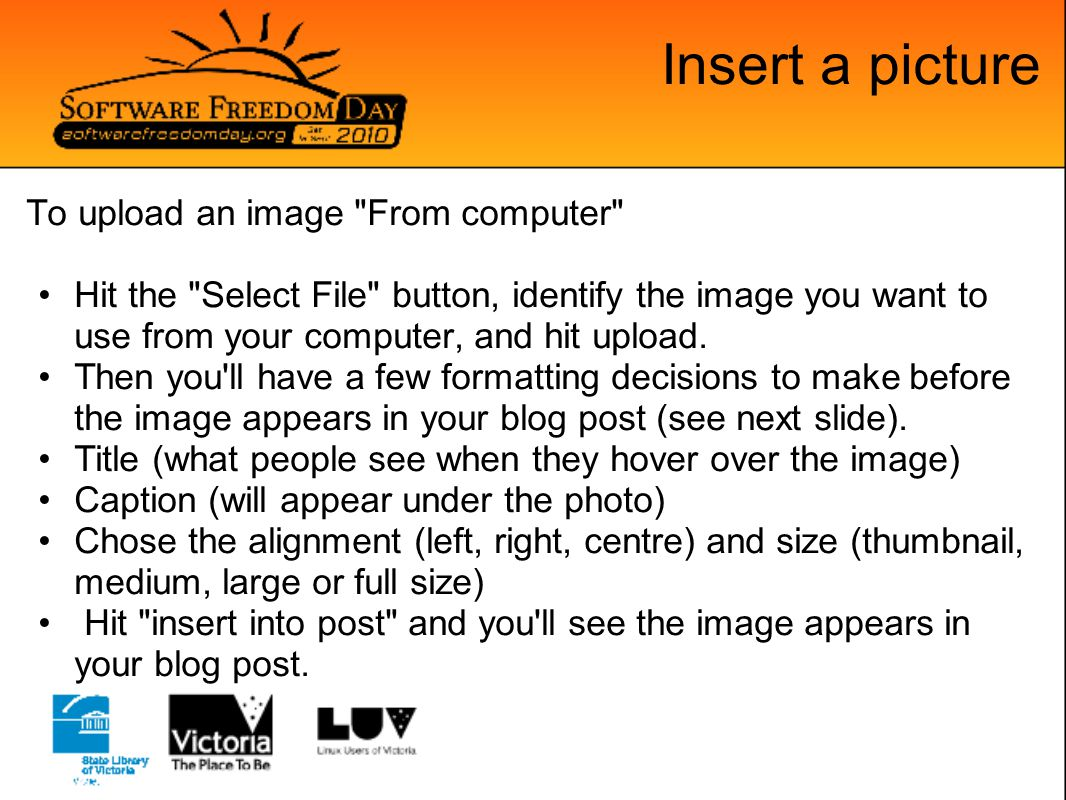 Insert a picture To upload an image