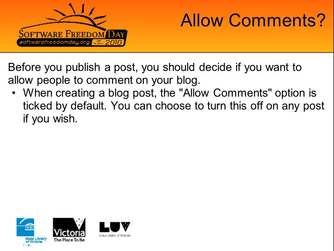 Allow Comments.