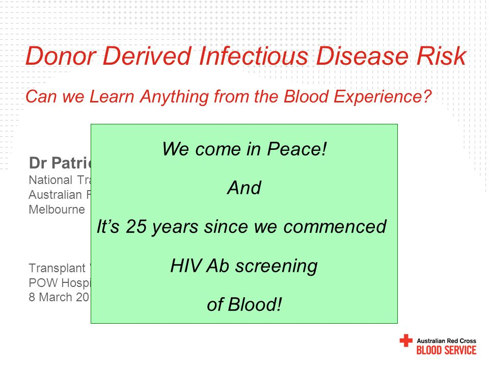 All volunteer donors HBsAg test AIDS high-risk exclusions Anti-HIV test ALT/HBcAb tests Anti-HCV test Improved HCV tests 19651970197519801985199019952000 Year of Transfusion % Recipients Infected 25 20 15 10 5 0 NAT Implementation Tobler and Busch, Clin Chem 1997.