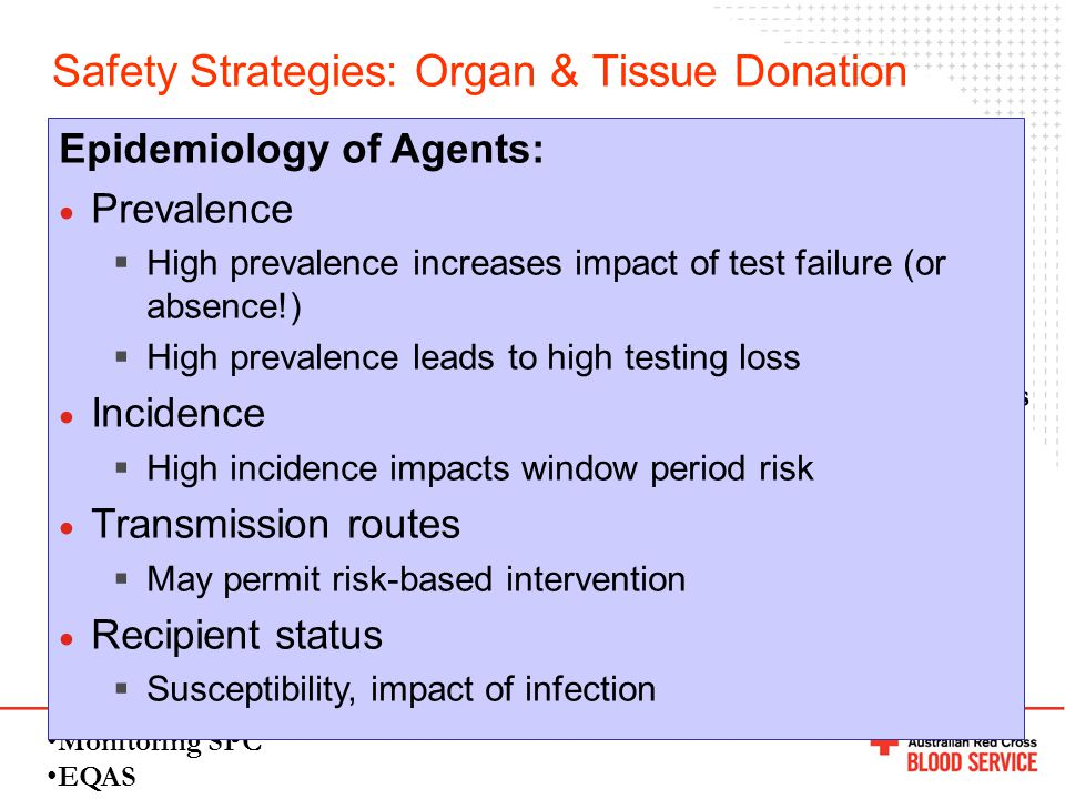 Safety Strategies: Organ & Tissue Donation EIA Screening: Anti-HIV, anti-HCV, HBsAg, anti-HBc, anti-HTLV, anti-CMV, Syphilis Ab NAT (urgent - high ris