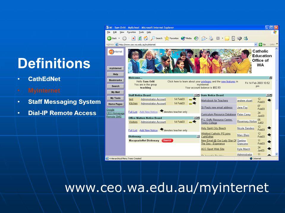 Definitions CathEdNet Myinternet Staff Messaging System Dial-IP Remote Access www.ceo.wa.edu.au/myinternet