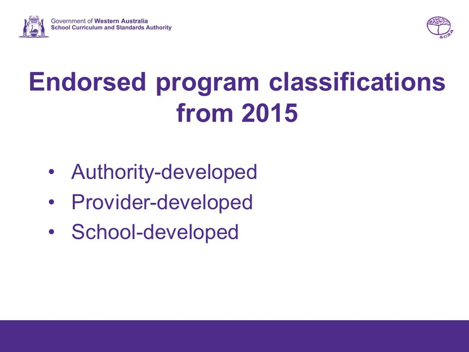 Endorsed program classifications from 2015 Authority-developed Provider-developed School-developed
