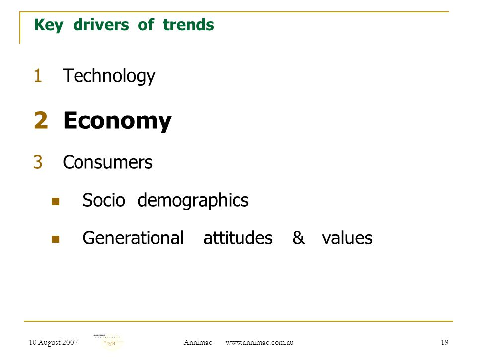 10 August 2007 Annimac www.annimac.com.au 20 Key drivers of trends 1Technology 2Economy 3Consumers Socio demographics Generational attitudes & values