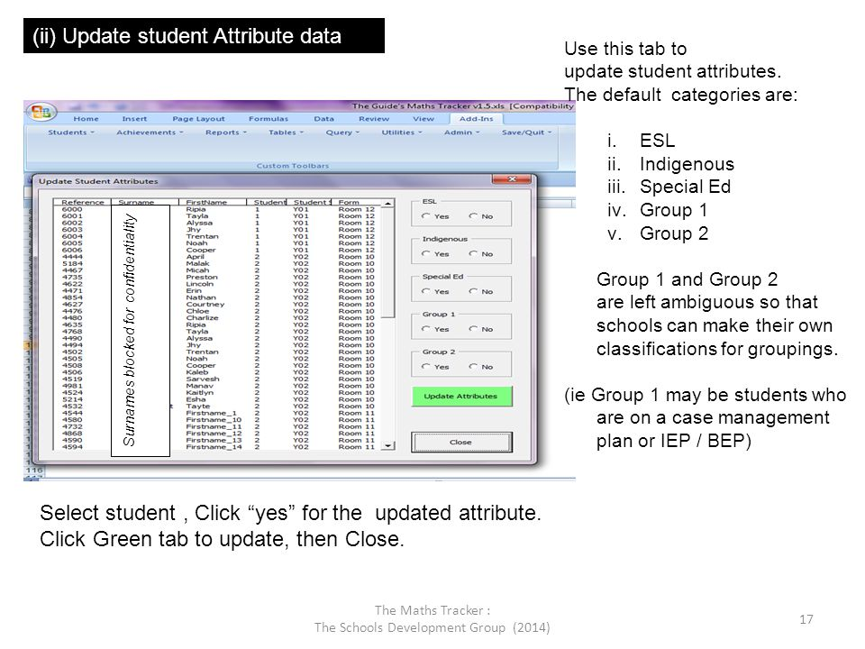 Surnames blocked for confidentiality (ii) Update student Attribute data Use this tab to update student attributes. The default categories are: i.ESL i