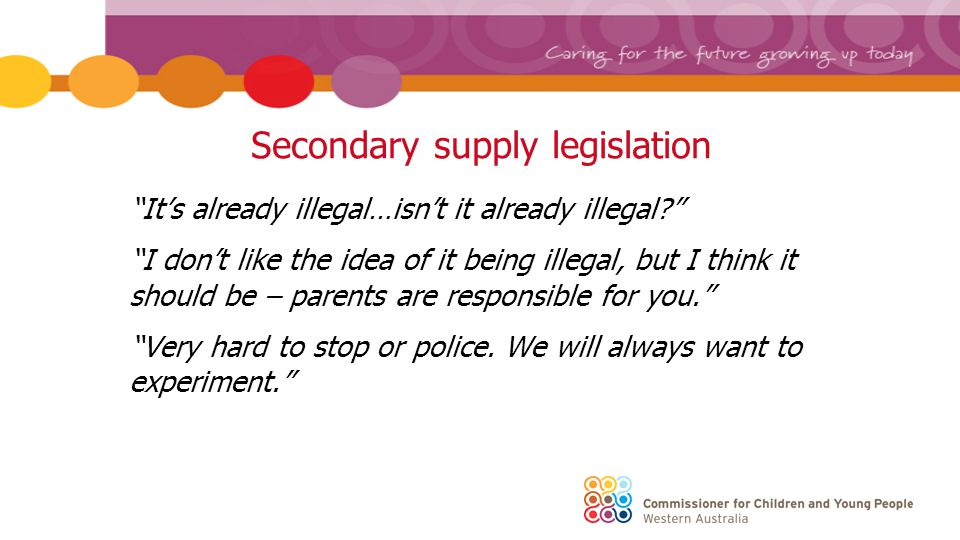 Secondary supply legislation It's already illegal…isn't it already illegal I don't like the idea of it being illegal, but I think it should be – parents are responsible for you. Very hard to stop or police.