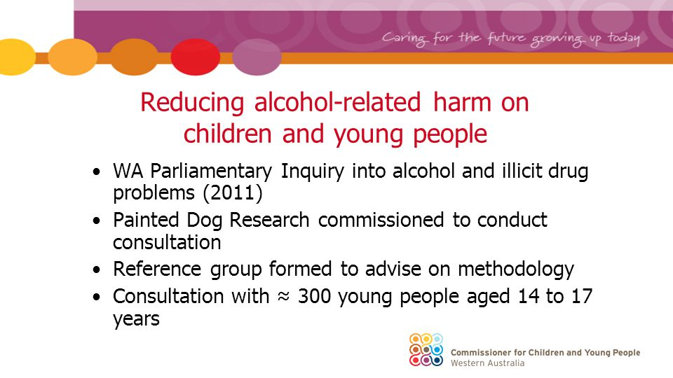 Young people's views sought Culture of alcohol consumption o in the broader community o among young people What influences decision making about alcohol Concerns about alcohol Strategies to reduce alcohol-related harm