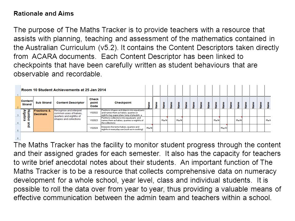 Rationale and Aims The purpose of The Maths Tracker is to provide teachers with a resource that assists with planning, teaching and assessment of the