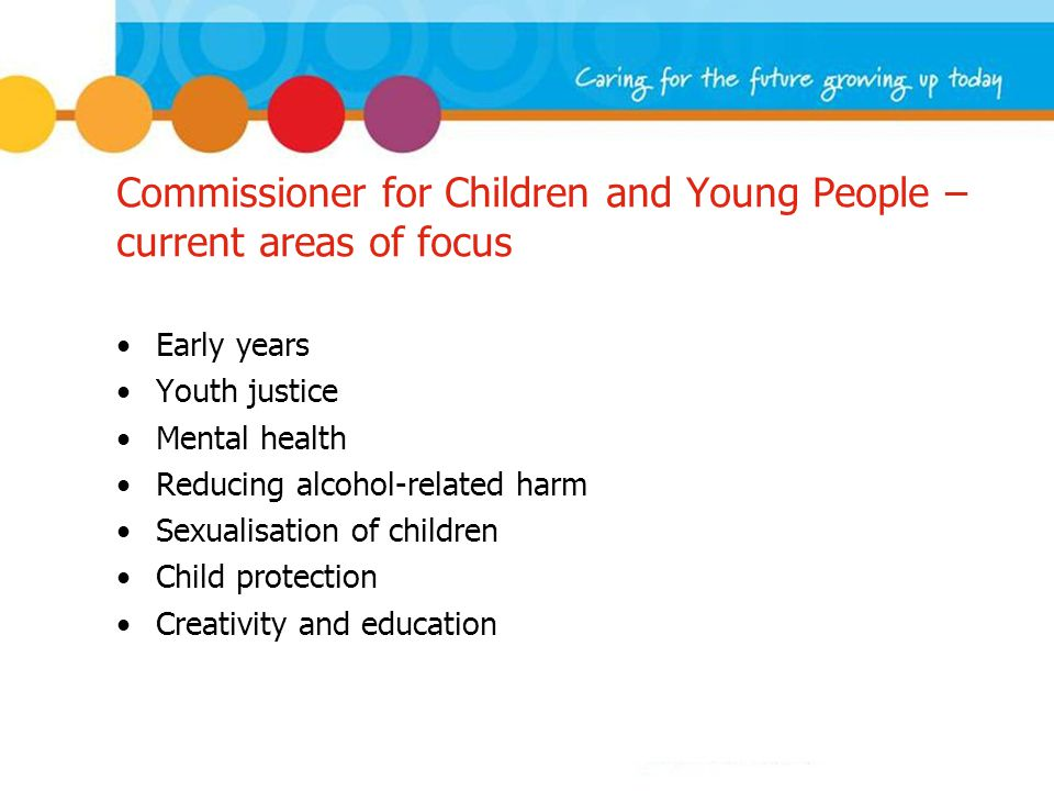 Commissioner for Children and Young People – current areas of focus Early years Youth justice Mental health Reducing alcohol-related harm Sexualisation of children Child protection Creativity and education