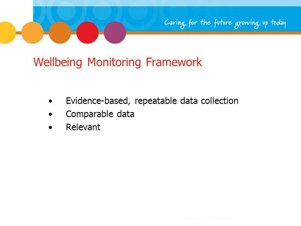 Wellbeing Monitoring Framework Evidence-based, repeatable data collection Comparable data Relevant