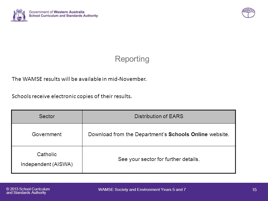 © 2013 School Curriculum and Standards Authority Reporting The WAMSE results will be available in mid-November. Schools receive electronic copies of t