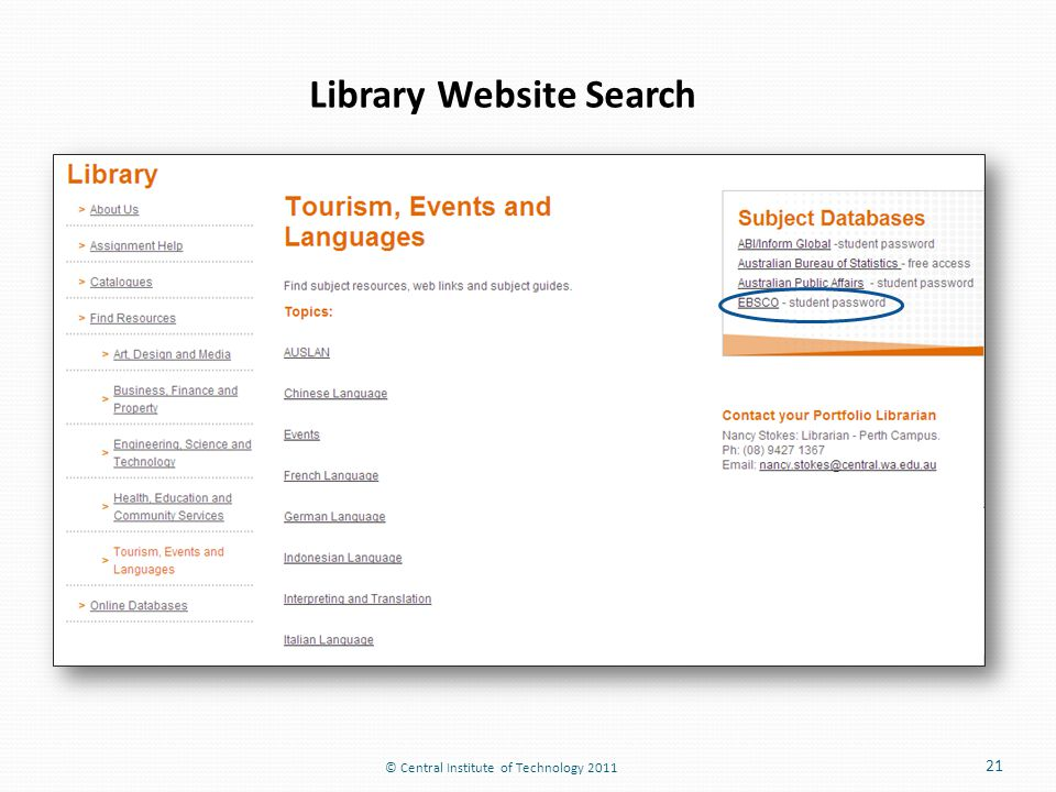 © Central Institute of Technology 2011 21 Library Website Search