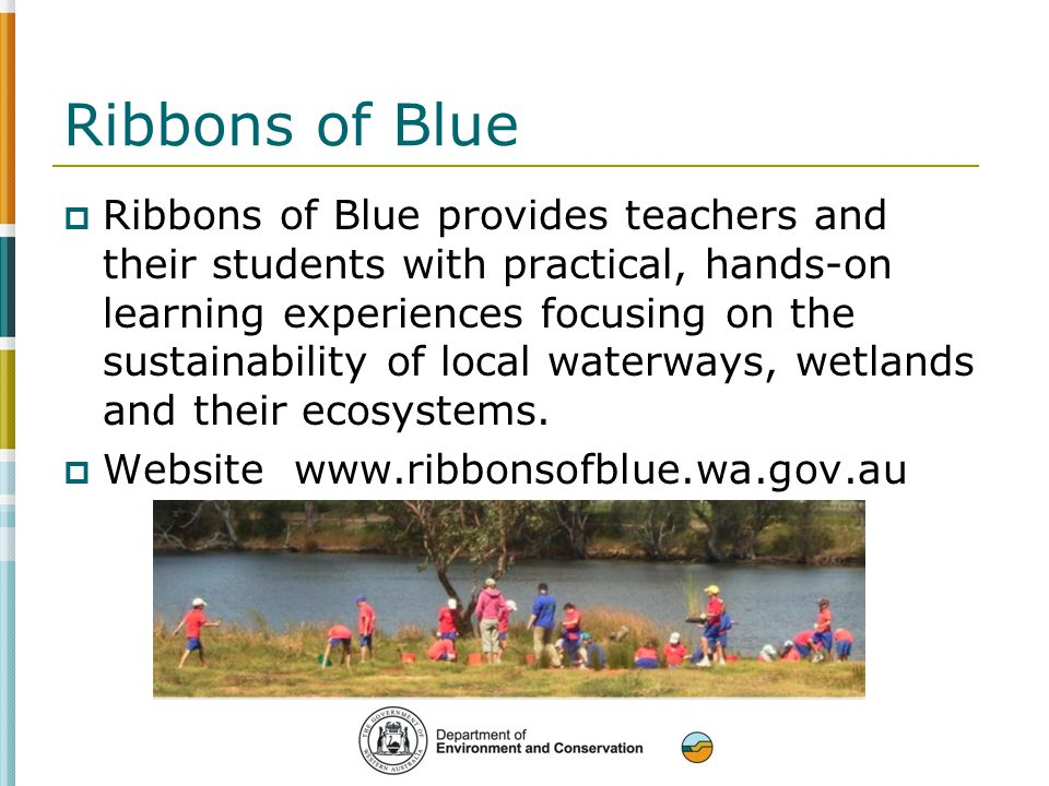 Ribbons of Blue  Ribbons of Blue provides teachers and their students with practical, hands-on learning experiences focusing on the sustainability of local waterways, wetlands and their ecosystems.