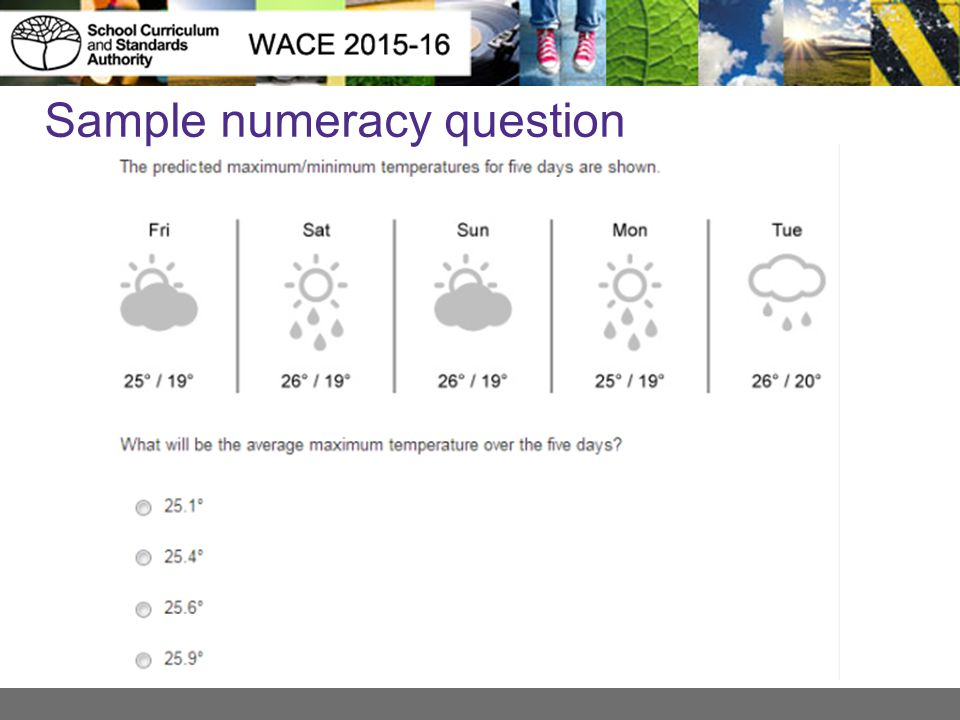 Sample numeracy question