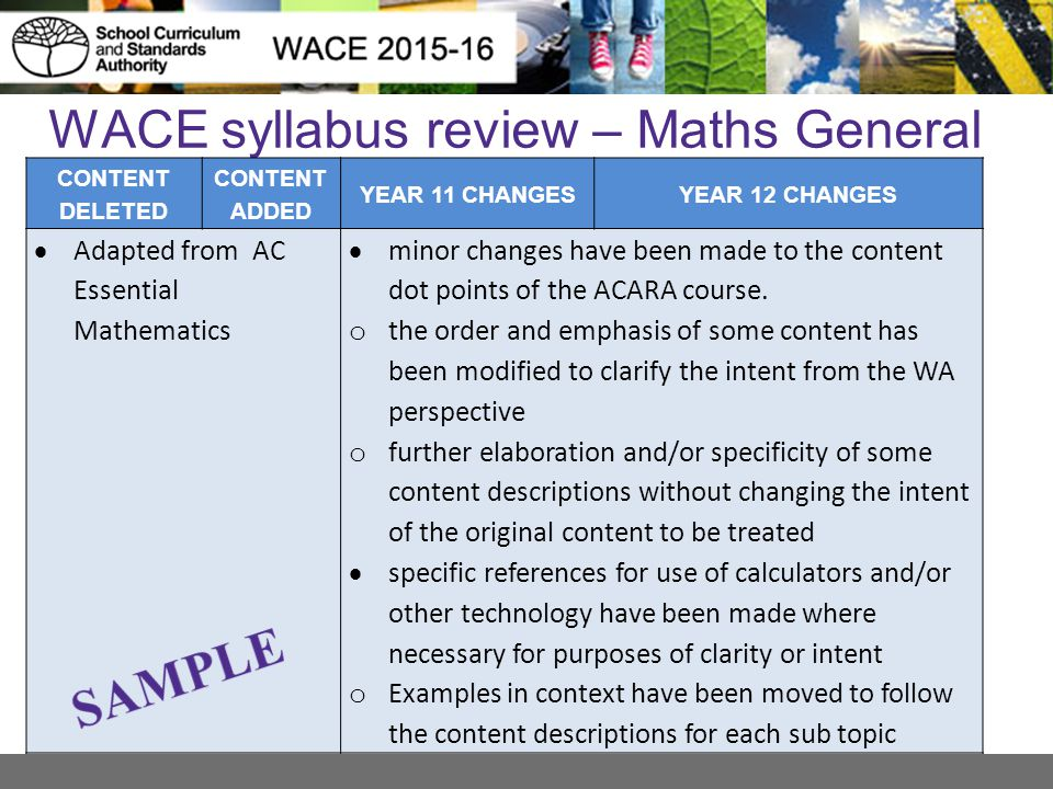 WACE syllabus review – Maths General CONTENT DELETED CONTENT ADDED YEAR 11 CHANGESYEAR 12 CHANGES  Adapted from AC Essential Mathematics  minor chan
