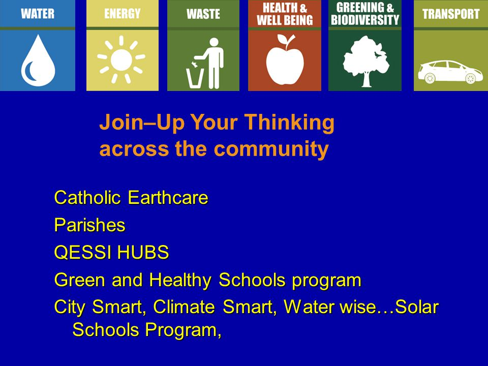 Catholic Earthcare Parishes QESSI HUBS Green and Healthy Schools program City Smart, Climate Smart, Water wise…Solar Schools Program, Join–Up Your Thinking across the community