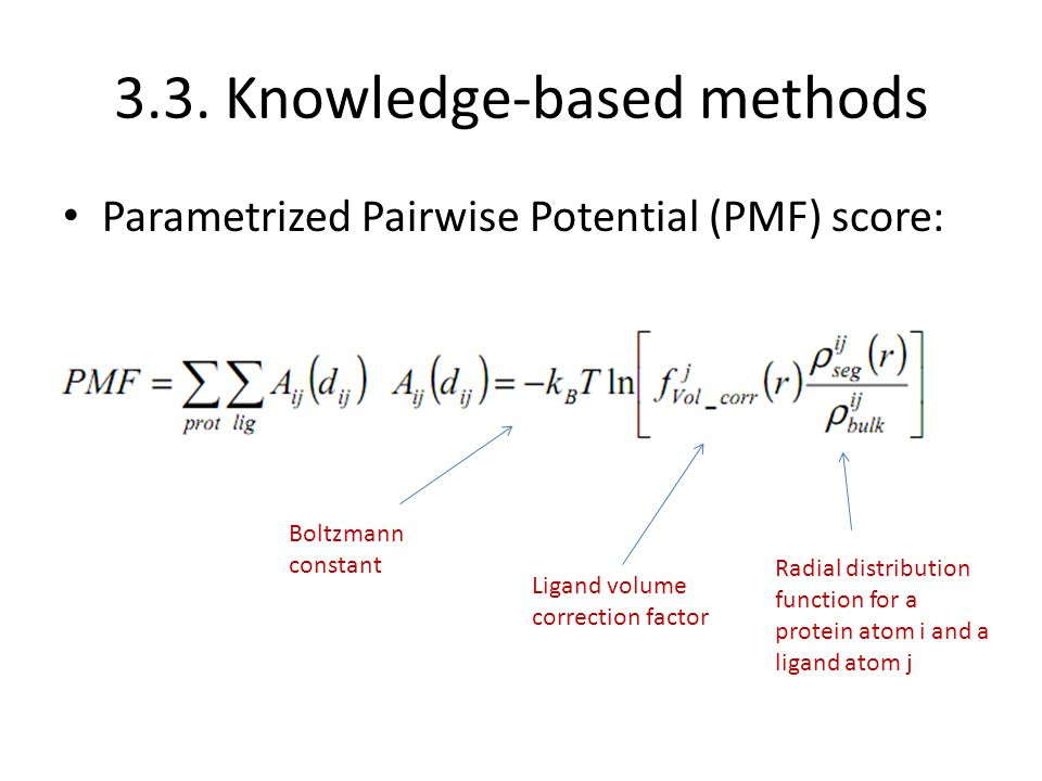 3.3. Knowledge-based methods Parametrized Pairwise Potential (PMF) score: Boltzmann constant Ligand volume correction factor Radial distribution funct