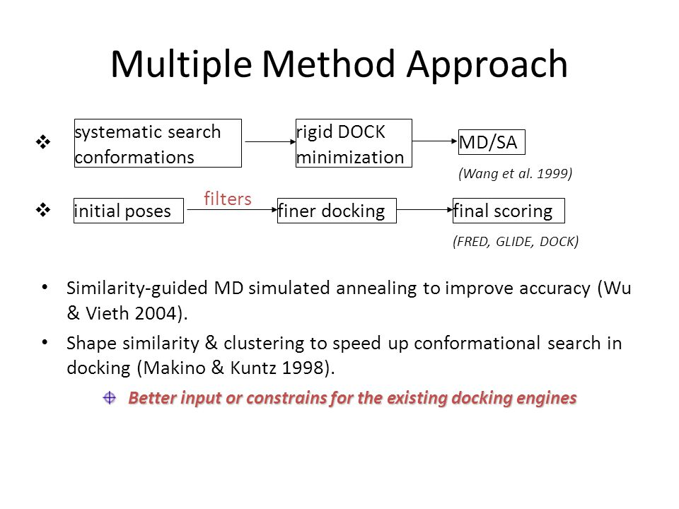 Multiple Method Approach Similarity-guided MD simulated annealing to improve accuracy (Wu & Vieth 2004). Shape similarity & clustering to speed up con