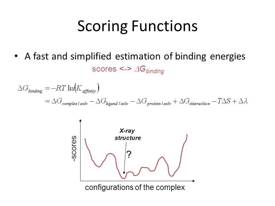 Scoring Functions A fast and simplified estimation of binding energies configurations of the complex -scores X-ray structure ? scores  G binding