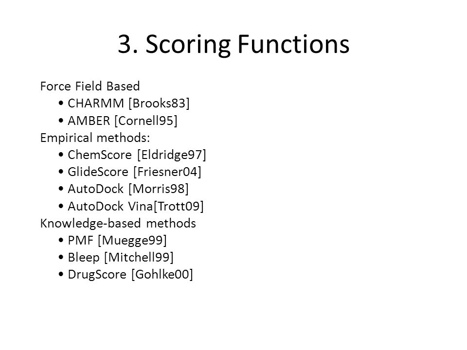 3. Scoring Functions Force Field Based CHARMM [Brooks83] AMBER [Cornell95] Empirical methods: ChemScore [Eldridge97] GlideScore [Friesner04] AutoDock