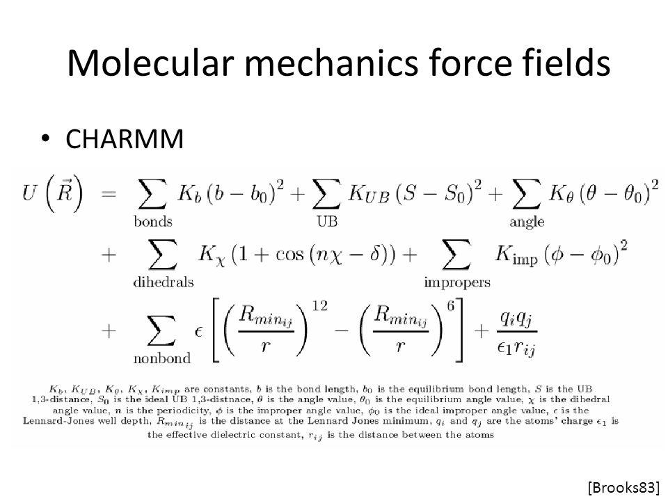 Molecular mechanics force fields CHARMM [Brooks83]