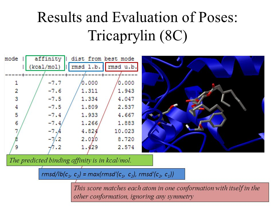 Results and Evaluation of Poses: Tricaprylin (8C) rmsd/lb(c 1, c 2 ) = max(rmsd'(c 1, c 2 ), rmsd'(c 2, c 1 )) The predicted binding affinity is in kc