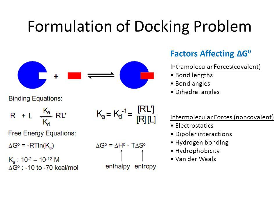 Formulation of Docking Problem Intramolecular Forces(covalent) Bond lengths Bond angles Dihedral angles Intermolecular Forces (noncovalent) Electrosta