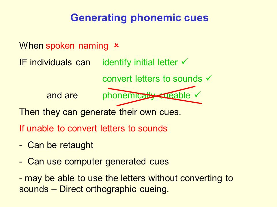 Using a computer to generate phonemic cues from the initial letter e.g. Bruce & Howard (1987); Best et al. (1997)    /d/ dog d 3. Press letter 2. V