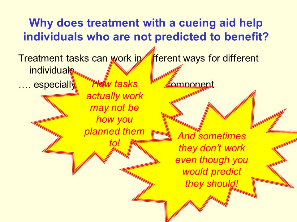 Cueing aid reorganising the naming system: JOW (Best et al, 1997) Substantial and long-lasting effects of treatment Improvement in treated and untreat