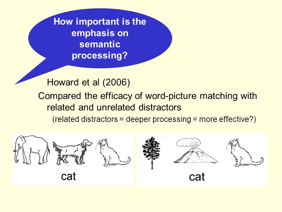 Semantic tasks as therapy Word-picture matching Word-picture verification Widely effective (Howard et al, 1985; Marshall et al, 1989) Long lasting effects (Pring et al., 1990) Generally, lasting effects are item specific These tasks typically don't require word production but improve naming at a later point nevertheless The tasks work best with people that can do them easily (people with less of a semantic problem)