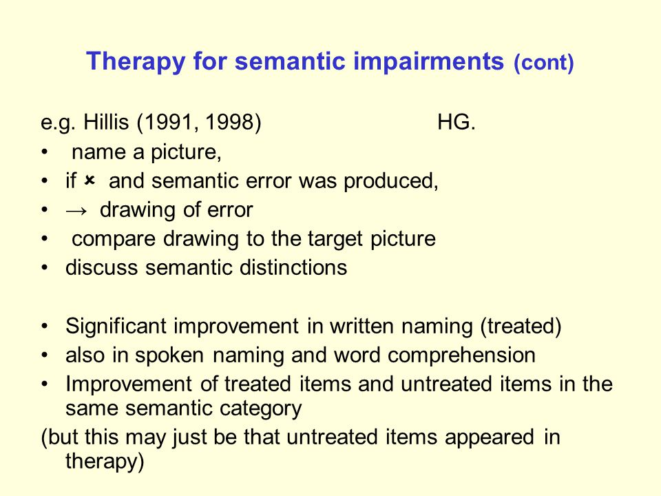 Therapy for semantic impairments (cont) e.g. Hillis (1991, 1998) HG. Red vs yellow Round vs oval Thin skin vs thick skin Sweet vs sour Lemon