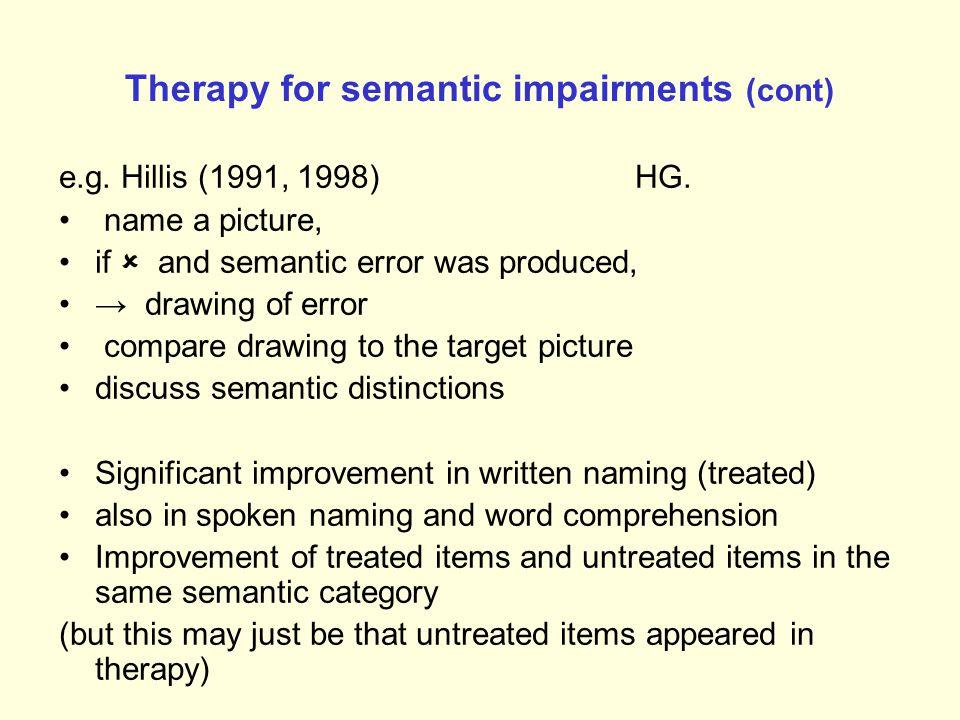 Therapy for semantic impairments (cont) e.g.Hillis (1991, 1998) HG.